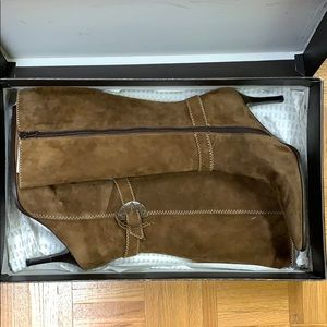 Brown Leather Zip-Up Heel Boots (Pegabo, Size 39)